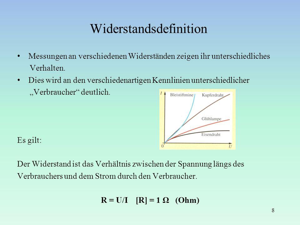 Widerstandsdefinition Messungen an verschiedenen Widerständen zeigen ihr unterschiedliches Verhalten. Dies wird an den verschiedenartigen Kennlinien u