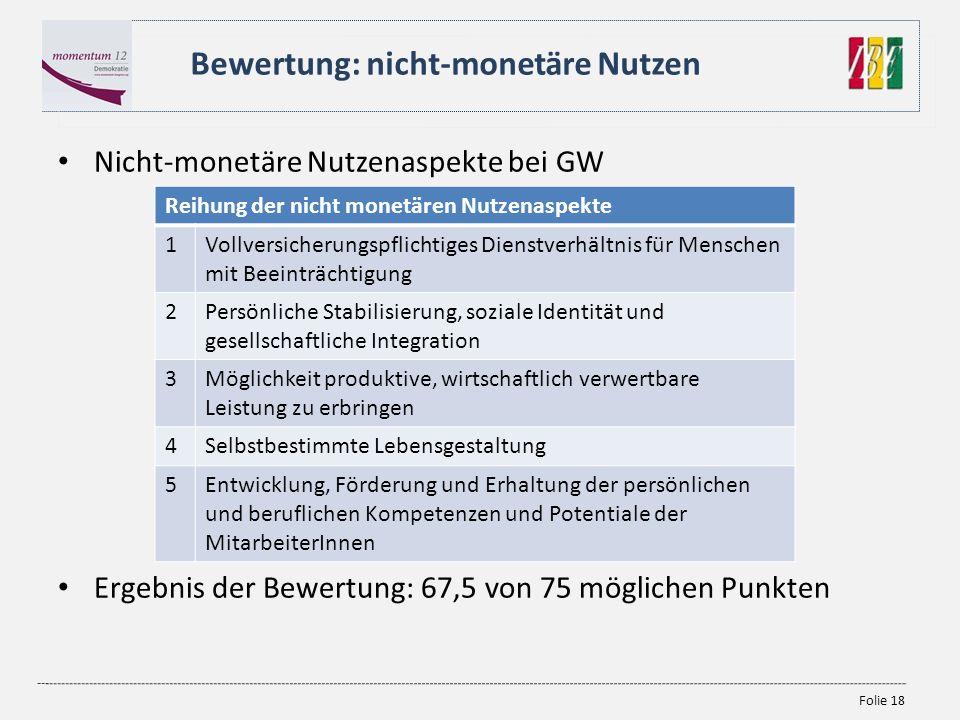 Folie 18 Nicht-monetäre Nutzenaspekte bei GW Ergebnis der Bewertung: 67,5 von 75 möglichen Punkten Bewertung: nicht-monetäre Nutzen Reihung der nicht