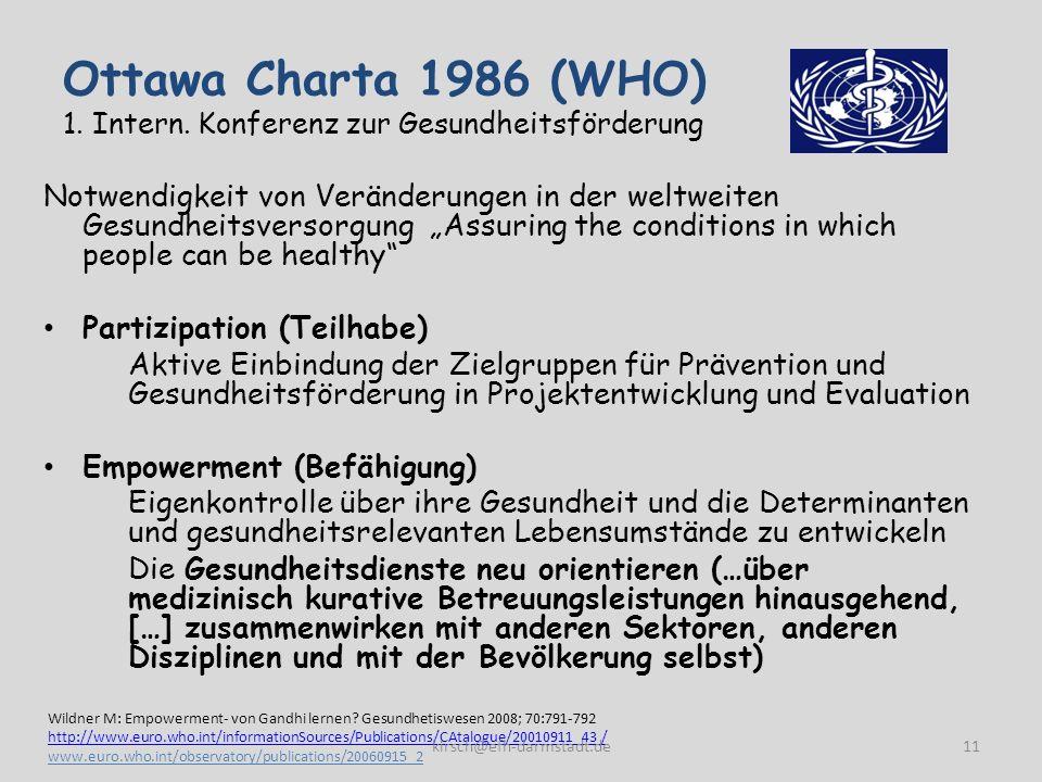 Ottawa Charta 1986 (WHO) 1. Intern. Konferenz zur Gesundheitsförderung Notwendigkeit von Veränderungen in der weltweiten Gesundheitsversorgung Assurin