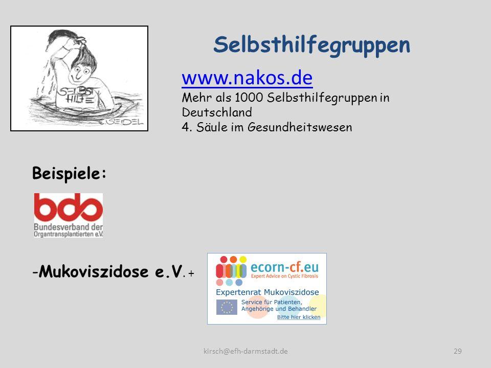 Selbsthilfegruppen 29 Beispiele: -Mukoviszidose e.V. + www.nakos.de Mehr als 1000 Selbsthilfegruppen in Deutschland 4. Säule im Gesundheitswesen kirsc