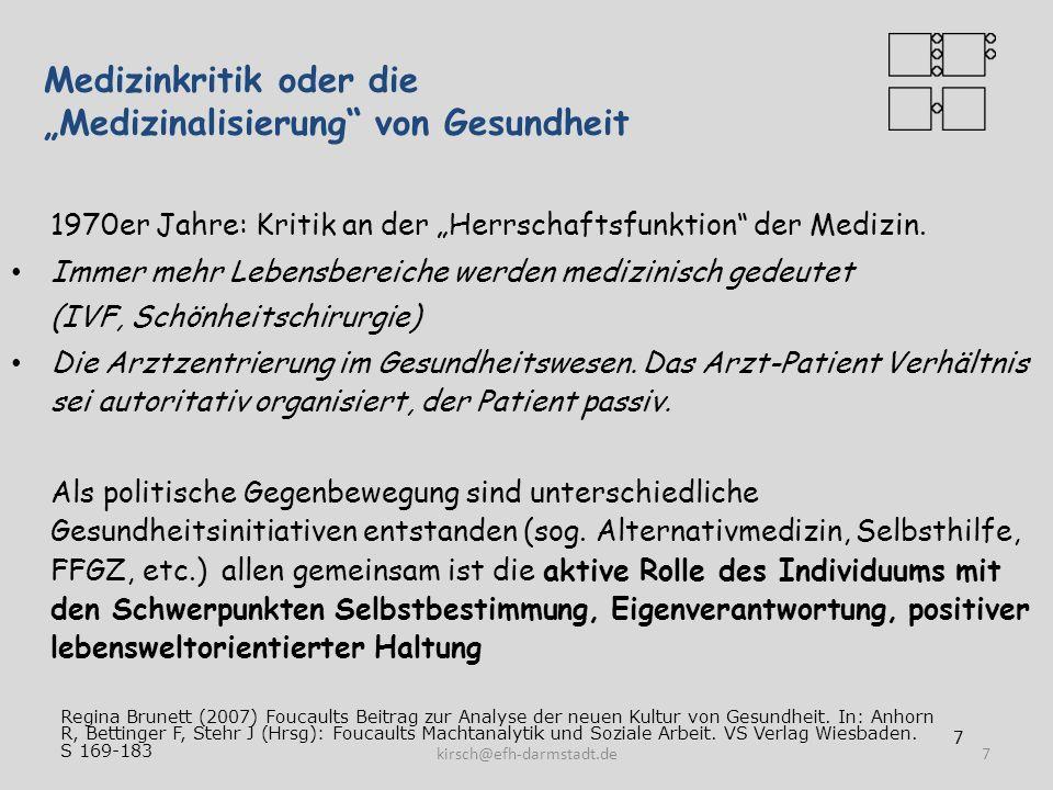 Empowerment: Kritik an den Experten Empowerment fordert auf zu kritischer Distanz gegenüber Organisationen/Institutionen (Experten) An ihrer Definitionsmacht (Problemdefinition) An ihrer Kontrollmacht in der Hilfebeziehung An der Tendenz zur Verfestigung und Erweiterung der Hilfsbedürftigkeit 8kirsch@efh-darmstadt.de