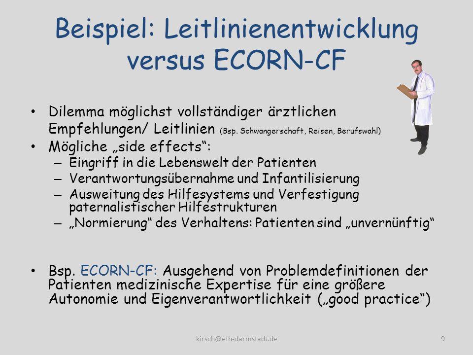 Beispiel: Leitlinienentwicklung versus ECORN-CF Dilemma möglichst vollständiger ärztlichen Empfehlungen/ Leitlinien (Bsp. Schwangerschaft, Reisen, Ber