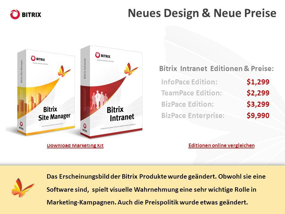 Editionen online vergleichenDownload Marketing Kit Neues Design & Neue Preise Das Erscheinungsbild der Bitrix Produkte wurde geändert. Obwohl sie eine