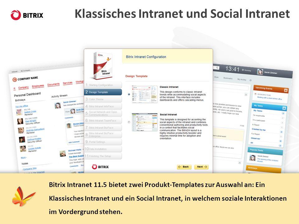 Klassisches Intranet und Social Intranet Bitrix Intranet 11.5 bietet zwei Produkt-Templates zur Auswahl an: Ein Klassisches Intranet und ein Social In