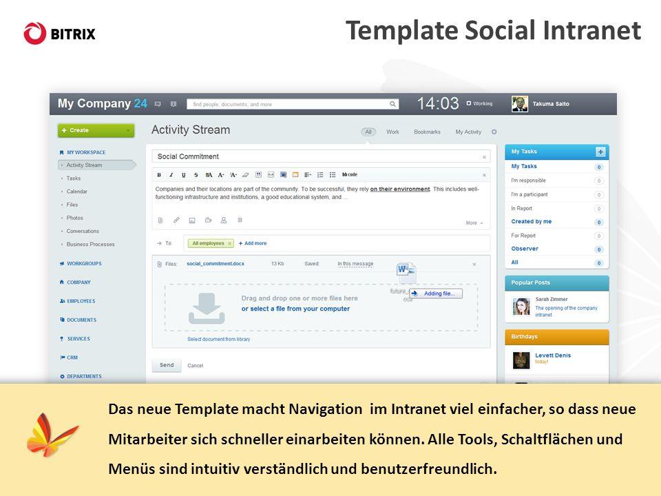 Template Social Intranet Das neue Template macht Navigation im Intranet viel einfacher, so dass neue Mitarbeiter sich schneller einarbeiten können. Al
