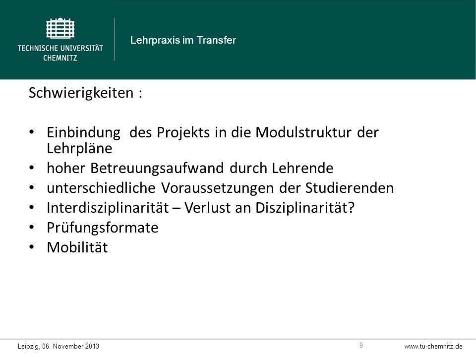 Schwierigkeiten : Einbindung des Projekts in die Modulstruktur der Lehrpläne hoher Betreuungsaufwand durch Lehrende unterschiedliche Voraussetzungen der Studierenden Interdisziplinarität – Verlust an Disziplinarität.
