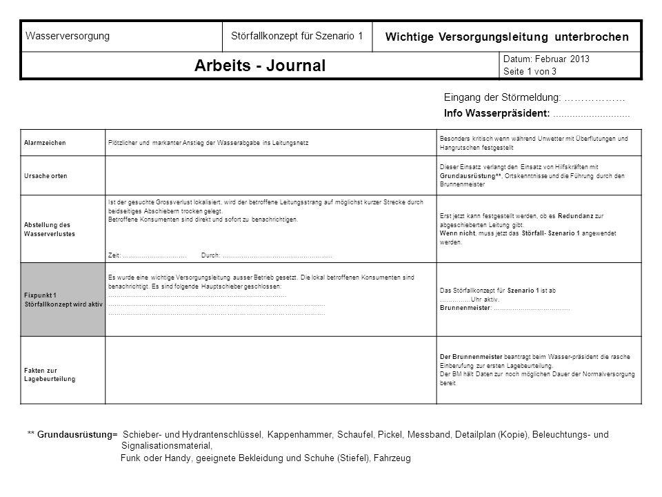 WasserversorgungStörfallkonzept für Szenario 1 Wichtige Versorgungsleitung unterbrochen Arbeits - Journal Datum: Februar 2013 Seite 1 von 3 Alarmzeich