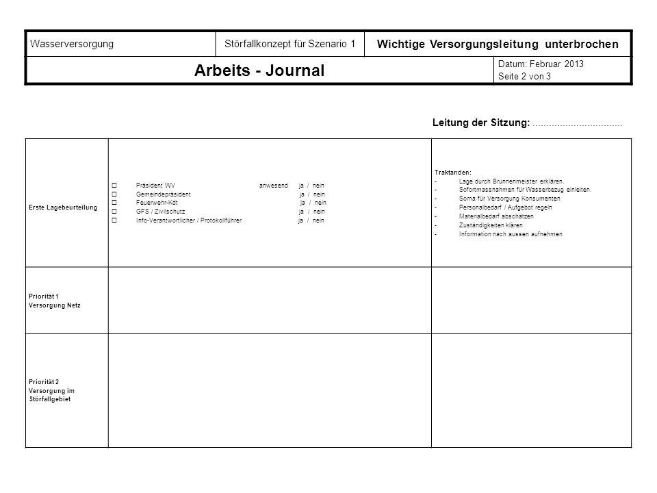 WasserversorgungStörfallkonzept für Szenario 1 Wichtige Versorgungsleitung unterbrochen Arbeits - Journal Datum: Februar 2013 Seite 2 von 3 Erste Lage
