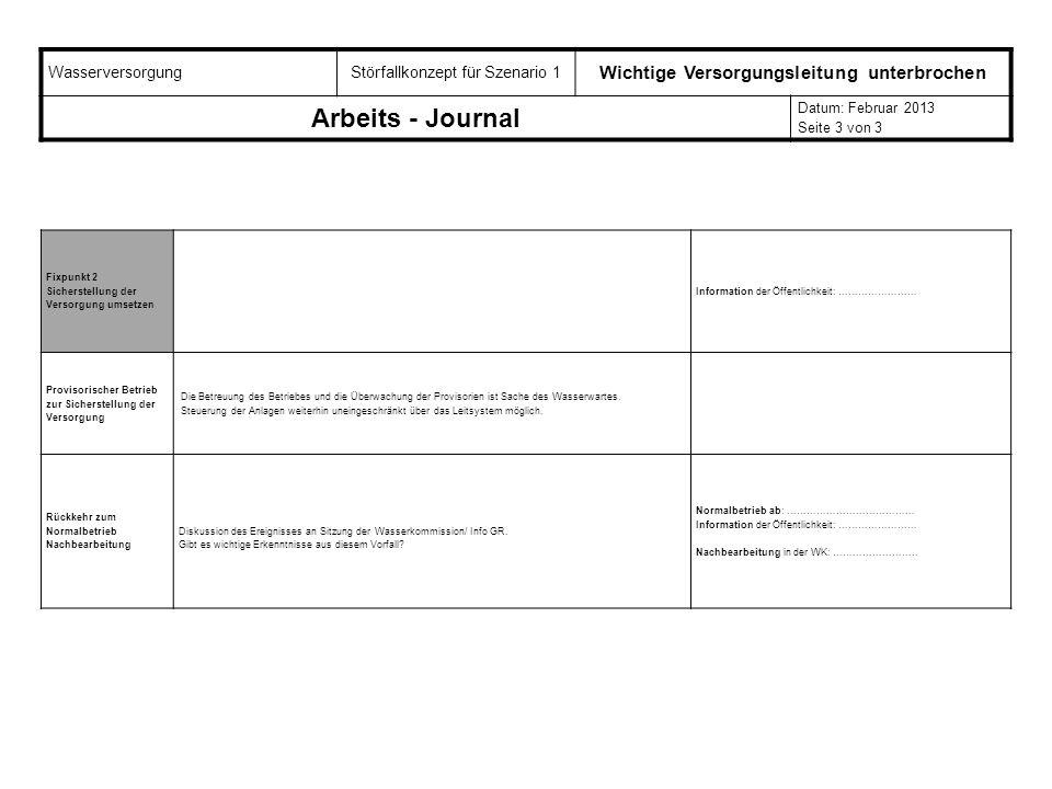 WasserversorgungStörfallkonzept für Szenario 1 Wichtige Versorgungsleitung unterbrochen Arbeits - Journal Datum: Februar 2013 Seite 3 von 3 Fixpunkt 2