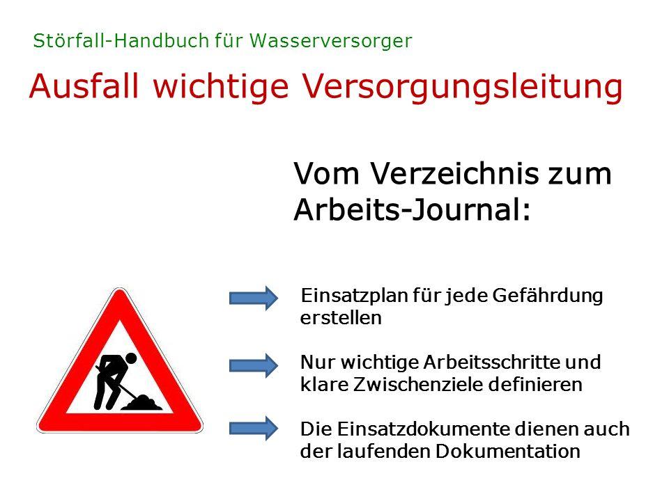 Ausfall wichtige Versorgungsleitung Störfall-Handbuch für Wasserversorger Vom Verzeichnis zum Arbeits-Journal: Einsatzplan für jede Gefährdung erstell