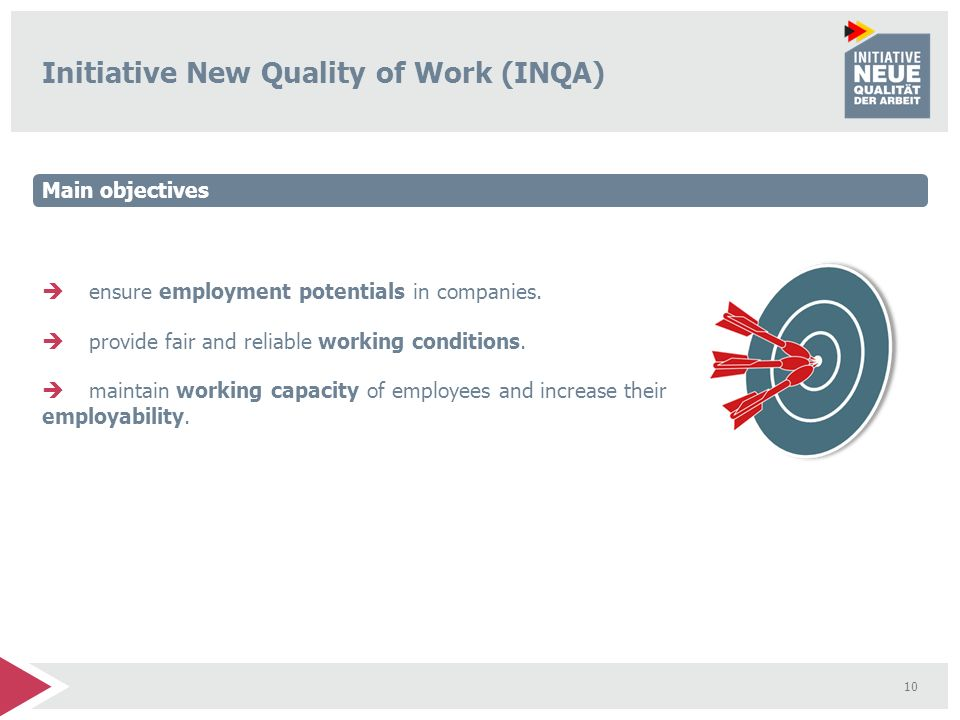 10 Initiative New Quality of Work (INQA) ensure employment potentials in companies. provide fair and reliable working conditions. maintain working cap