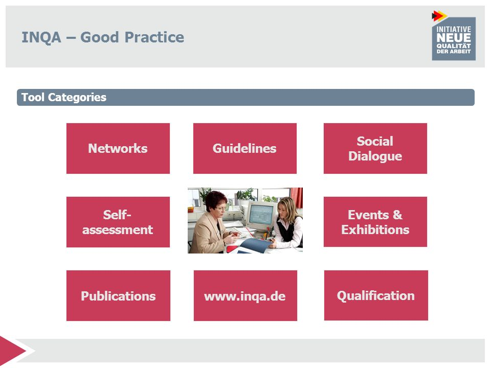INQA – Good Practice Networks Publications Self- assessment Events & Exhibitions Guidelines Social Dialogue Qualification www.inqa.de Tool Categories