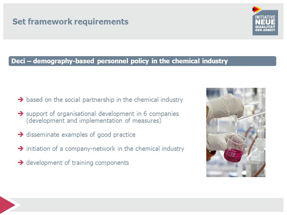 Set framework requirements based on the social partnership in the chemical industry support of organisational development in 6 companies (development and implementation of measures) disseminate examples of good practice initiation of a company-network in the chemical industry development of training components Deci – demography-based personnel policy in the chemical industry