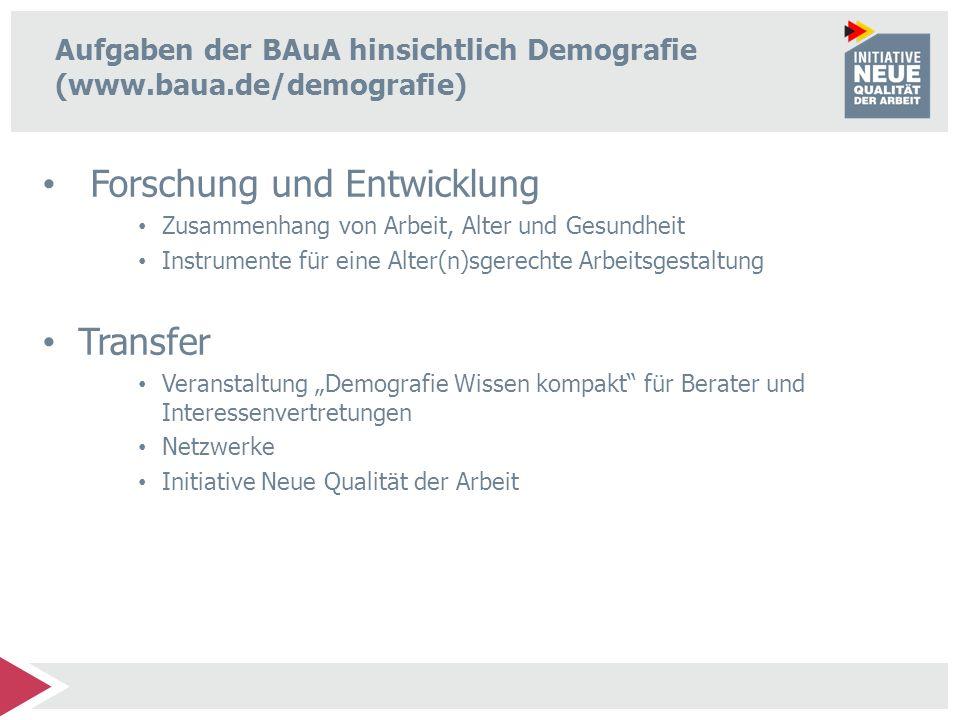 Aufgaben der BAuA hinsichtlich Demografie (www.baua.de/demografie) Forschung und Entwicklung Zusammenhang von Arbeit, Alter und Gesundheit Instrumente