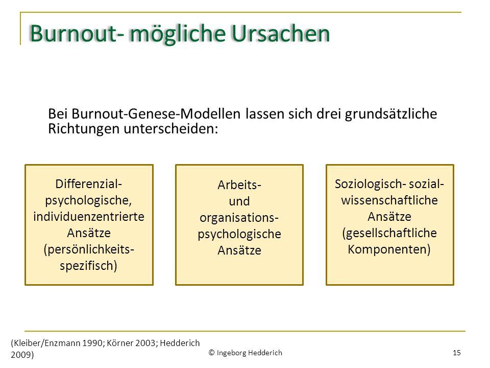 Burnout- mögliche Ursachen Bei Burnout-Genese-Modellen lassen sich drei grundsätzliche Richtungen unterscheiden: © Ingeborg Hedderich 15 (Kleiber/Enzm