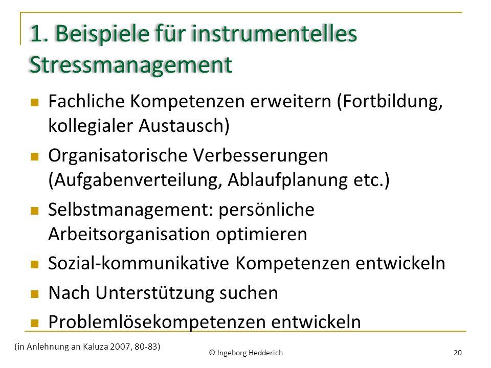 1. Beispiele für instrumentelles Stressmanagement Fachliche Kompetenzen erweitern (Fortbildung, kollegialer Austausch) Organisatorische Verbesserungen