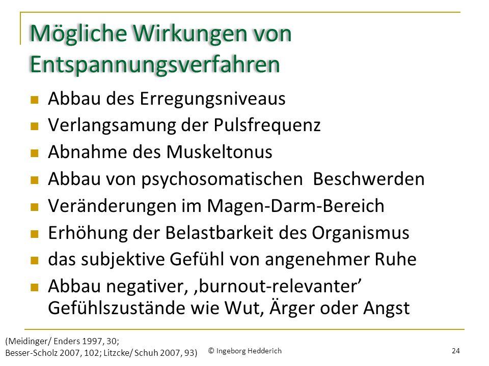 Mögliche Wirkungen von Entspannungsverfahren Abbau des Erregungsniveaus Verlangsamung der Pulsfrequenz Abnahme des Muskeltonus Abbau von psychosomatischen Beschwerden Veränderungen im Magen-Darm-Bereich Erhöhung der Belastbarkeit des Organismus das subjektive Gefühl von angenehmer Ruhe Abbau negativer, burnout-relevanter Gefühlszustände wie Wut, Ärger oder Angst © Ingeborg Hedderich 24 (Meidinger/ Enders 1997, 30; Besser-Scholz 2007, 102; Litzcke/ Schuh 2007, 93)