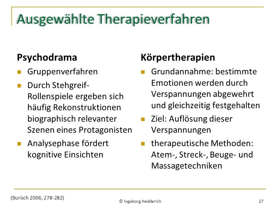Ausgewählte Therapieverfahren Psychodrama Gruppenverfahren Durch Stehgreif- Rollenspiele ergeben sich häufig Rekonstruktionen biographisch relevanter