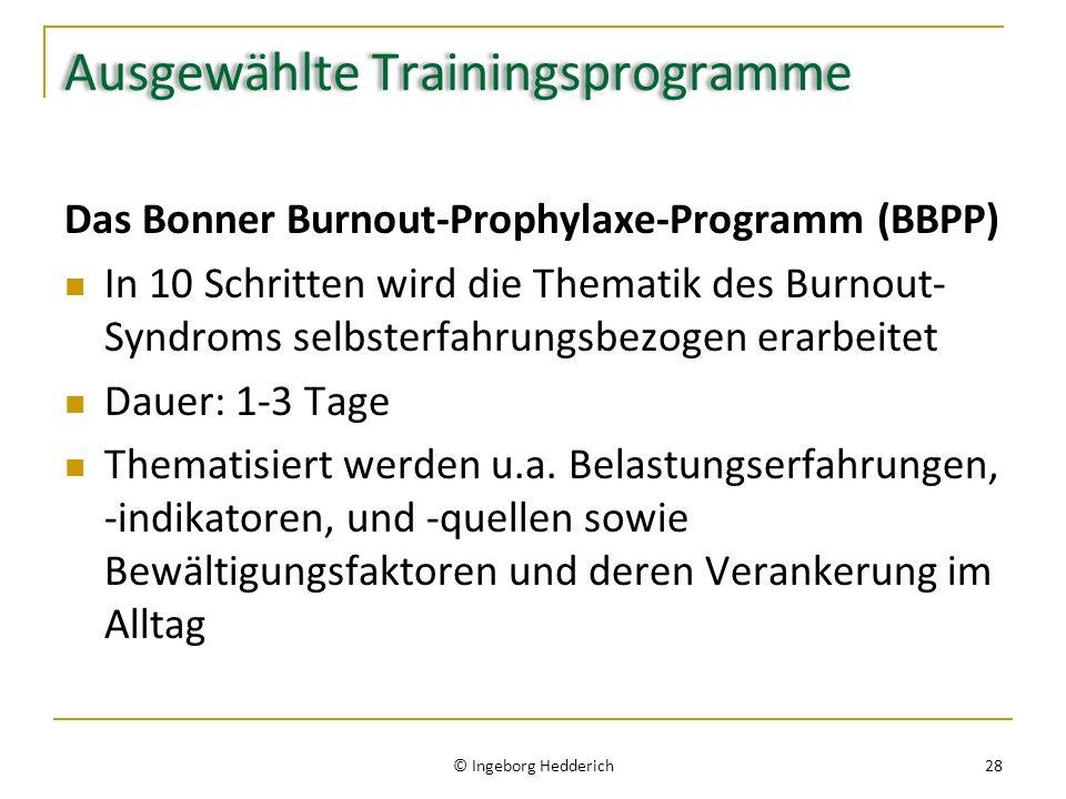 Ausgewählte Trainingsprogramme Das Bonner Burnout-Prophylaxe-Programm (BBPP) In 10 Schritten wird die Thematik des Burnout- Syndroms selbsterfahrungsbezogen erarbeitet Dauer: 1-3 Tage Thematisiert werden u.a.