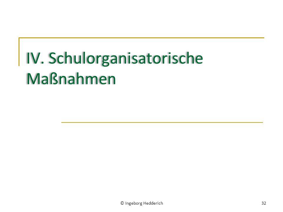 IV. Schulorganisatorische Maßnahmen © Ingeborg Hedderich32