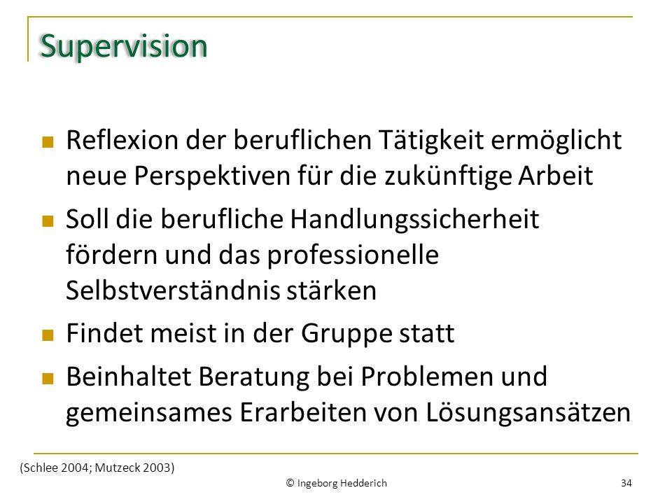 Supervision Reflexion der beruflichen Tätigkeit ermöglicht neue Perspektiven für die zukünftige Arbeit Soll die berufliche Handlungssicherheit fördern