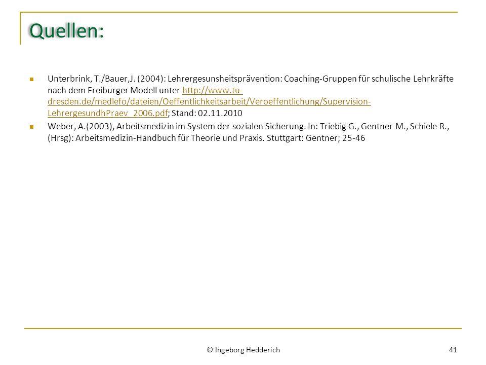 Quellen: Unterbrink, T./Bauer,J. (2004): Lehrergesunsheitsprävention: Coaching-Gruppen für schulische Lehrkräfte nach dem Freiburger Modell unter http