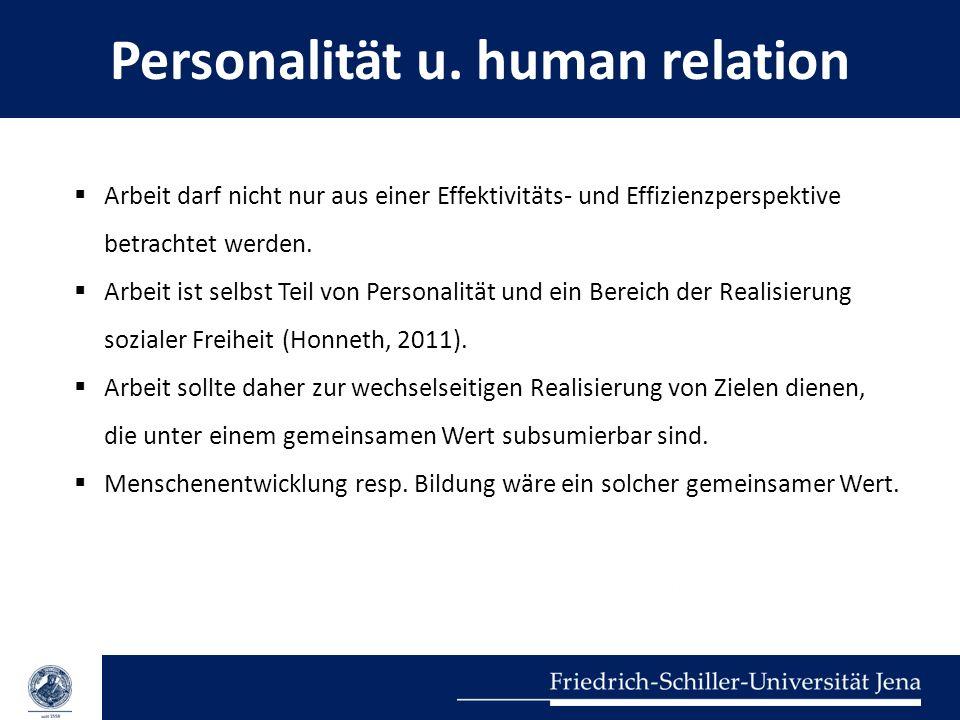 Personalität u. human relation Arbeit darf nicht nur aus einer Effektivitäts- und Effizienzperspektive betrachtet werden. Arbeit ist selbst Teil von P