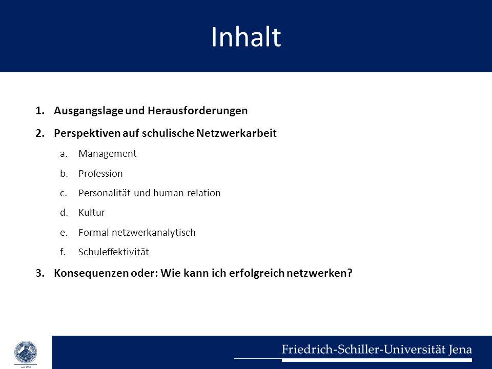 Inhalt 1.Ausgangslage und Herausforderungen 2.Perspektiven auf schulische Netzwerkarbeit a.Management b.Profession c.Personalität und human relation d