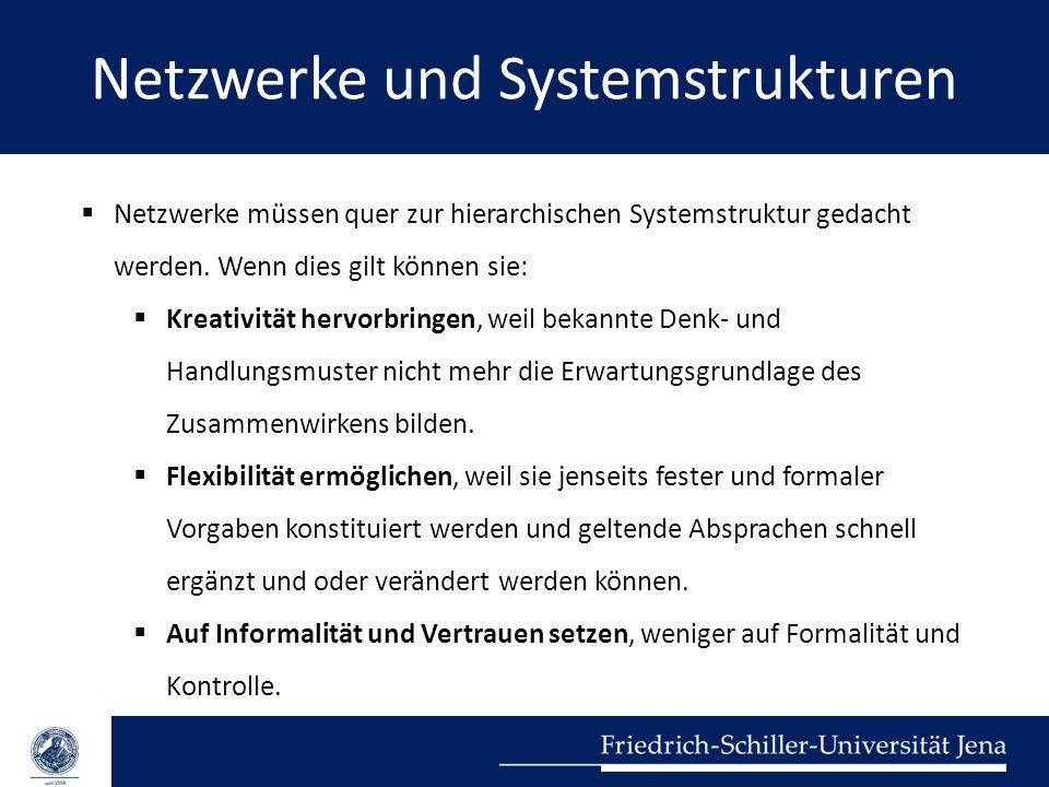 Netzwerke und Systemstrukturen Netzwerke müssen quer zur hierarchischen Systemstruktur gedacht werden. Wenn dies gilt können sie: Kreativität hervorbr