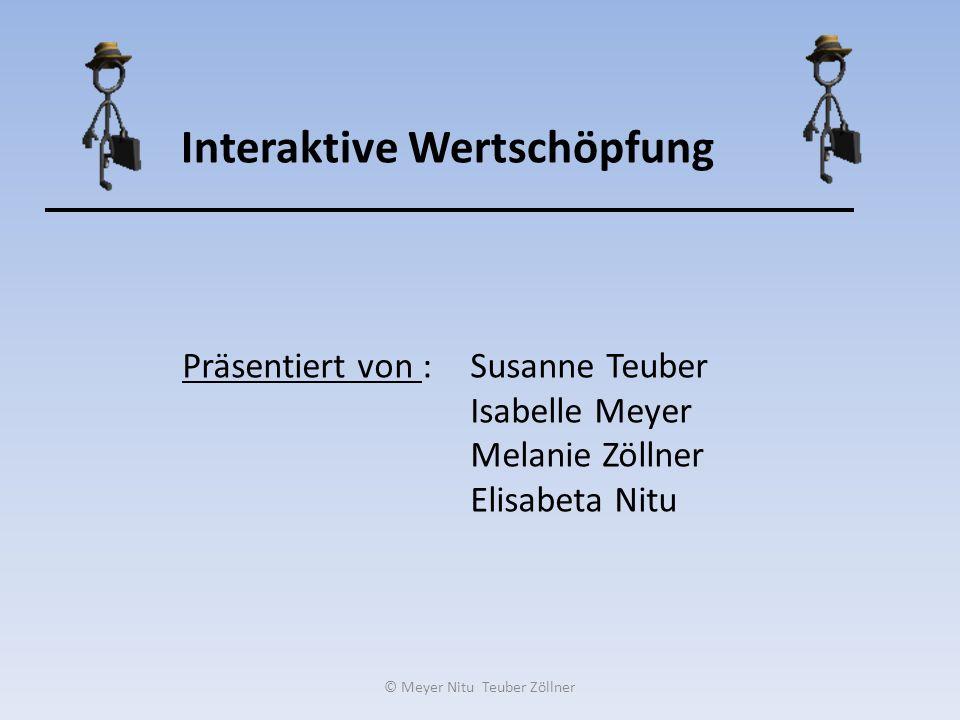 Interaktive Wertschöpfung Präsentiert von :Susanne Teuber Isabelle Meyer Melanie Zöllner Elisabeta Nitu © Meyer Nitu Teuber Zöllner