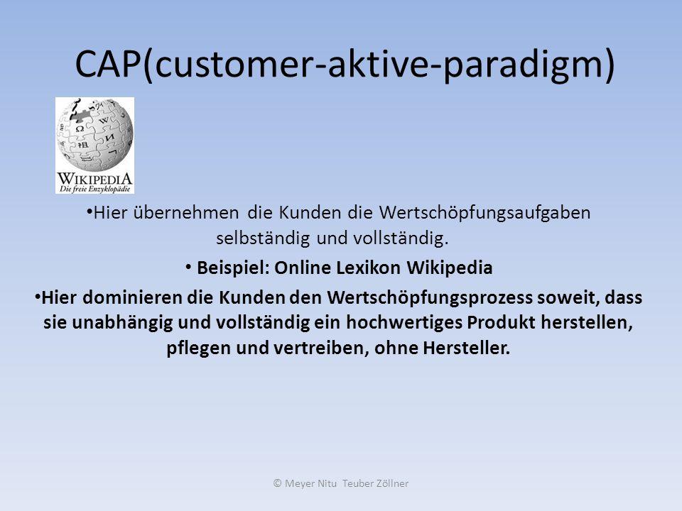 © Meyer Nitu Teuber Zöllner CAP(customer-aktive-paradigm) Hier übernehmen die Kunden die Wertschöpfungsaufgaben selbständig und vollständig. Beispiel:
