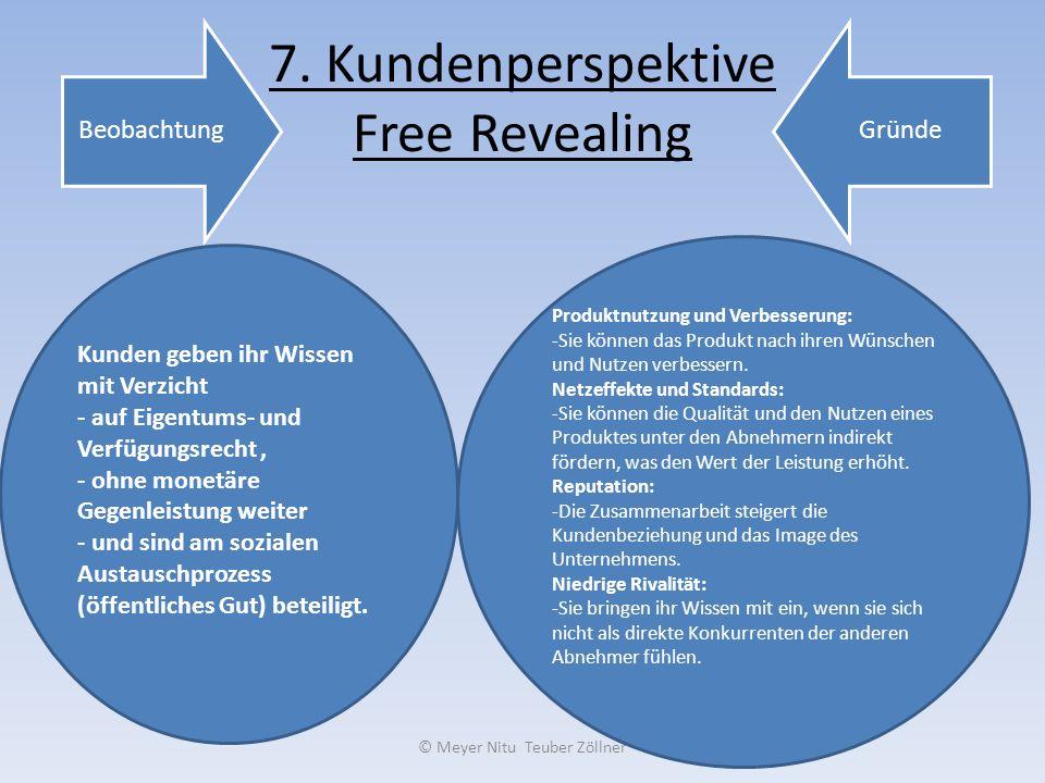 7. Kundenperspektive Free Revealing BeobachtungGründe Kunden geben ihr Wissen mit Verzicht - auf Eigentums- und Verfügungsrecht, - ohne monetäre Gegen