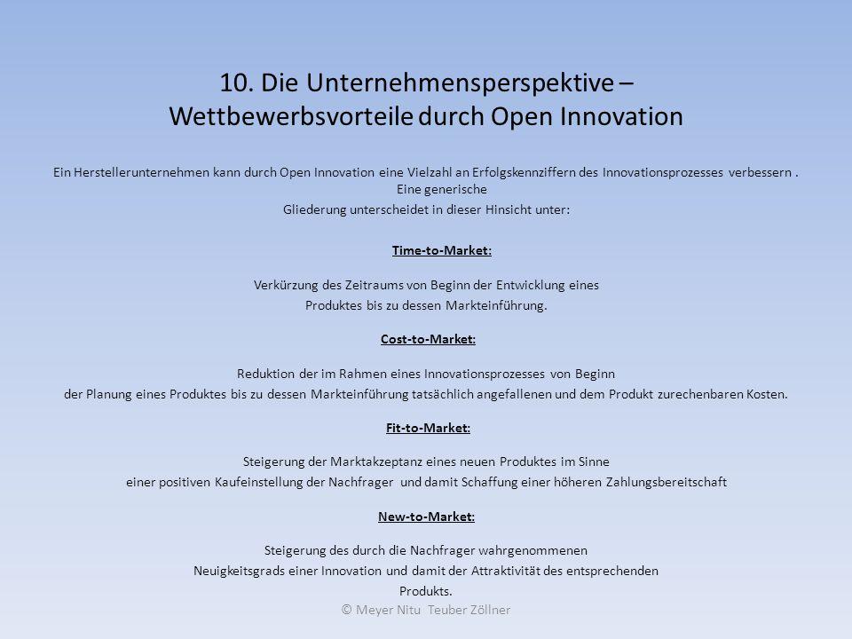 10. Die Unternehmensperspektive – Wettbewerbsvorteile durch Open Innovation Ein Herstellerunternehmen kann durch Open Innovation eine Vielzahl an Erfo