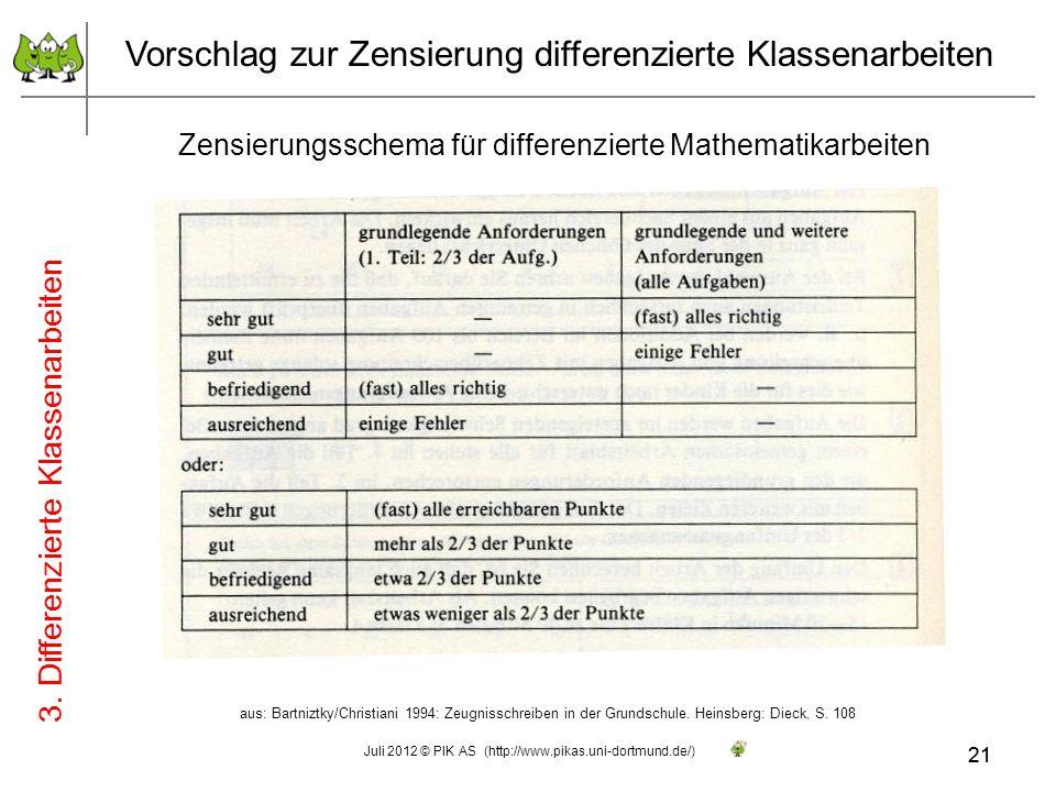 Vorschlag zur Zensierung differenzierte Klassenarbeiten Zensierungsschema für differenzierte Mathematikarbeiten aus: Bartniztky/Christiani 1994: Zeugn