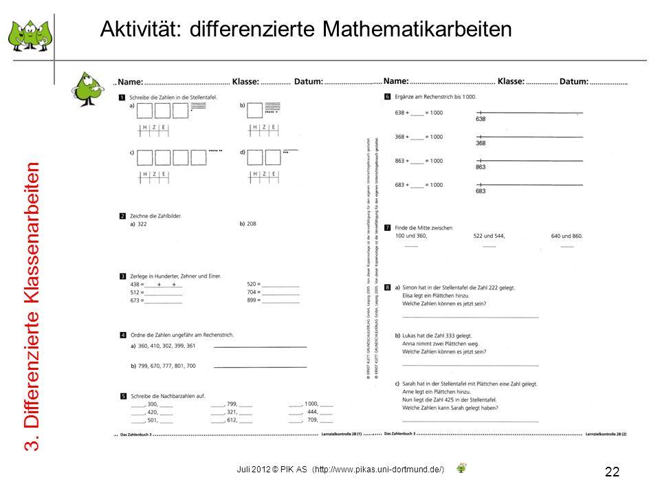 Aktivität: differenzierte Mathematikarbeiten Konzipieren Sie (einige Aufgaben) für eine differenzierte Klassenarbeit zur Zahlenraumerweiterung (Tausen