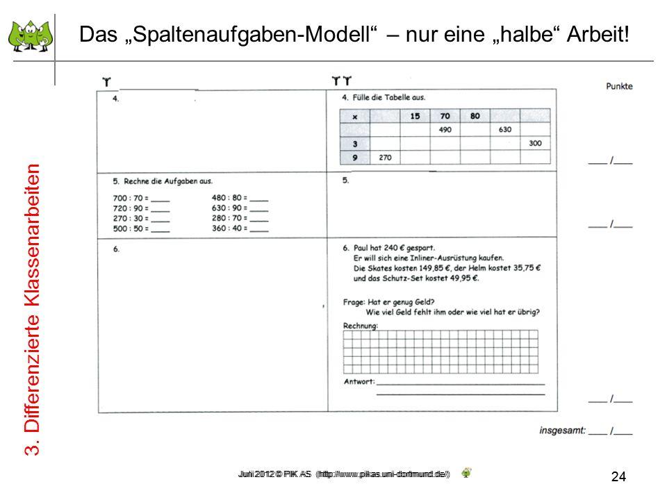 24 Juni 2012 © PIK AS (http://www.pikas.uni-dortmund.de/) Das Spaltenaufgaben-Modell – nur eine halbe Arbeit! 3. Differenzierte Klassenarbeiten 24 Jul