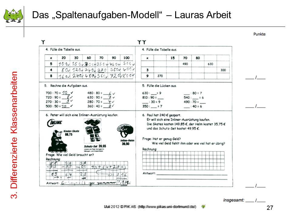 27 Mai 2012 © PIK AS (http://www.pikas.uni-dortmund.de/) Das Spaltenaufgaben-Modell – Lauras Arbeit 3. Differenzierte Klassenarbeiten 27 Juli 2012 © P