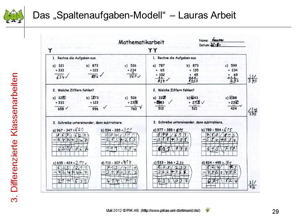 29 Mai 2012 © PIK AS (http://www.pikas.uni-dortmund.de/) Das Spaltenaufgaben-Modell – Lauras Arbeit 3. Differenzierte Klassenarbeiten 29 Juli 2012 © P