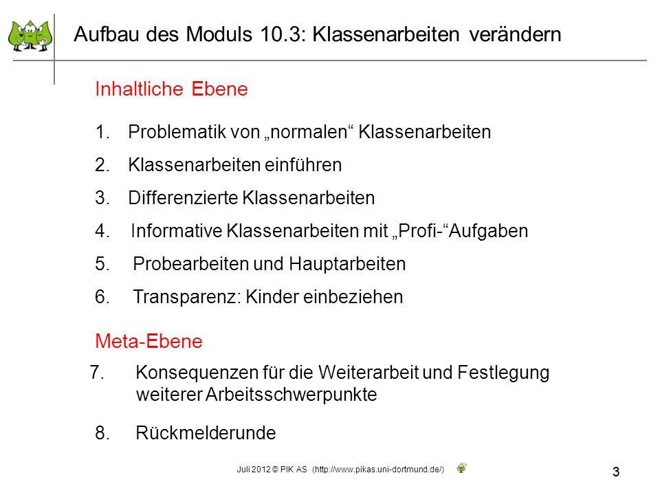 3 Aufbau des Moduls 10.3: Klassenarbeiten verändern Inhaltliche Ebene Meta-Ebene 7. Konsequenzen für die Weiterarbeit und Festlegung weiterer Arbeitss