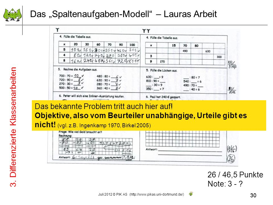 30 Das Spaltenaufgaben-Modell – Lauras Arbeit 26 / 46,5 Punkte Note: 3 - ? Das bekannte Problem tritt auch hier auf! Objektive, also vom Beurteiler un