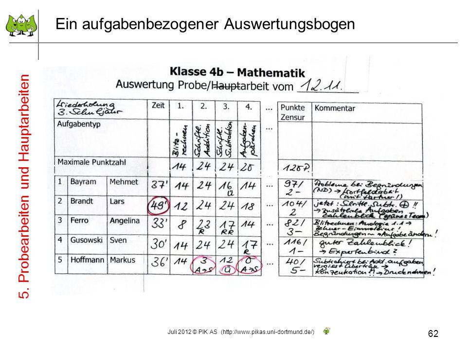Ein aufgabenbezogener Auswertungsbogen 62 Juli 2012 © PIK AS (http://www.pikas.uni-dortmund.de/) 5. Probearbeiten und Hauptarbeiten