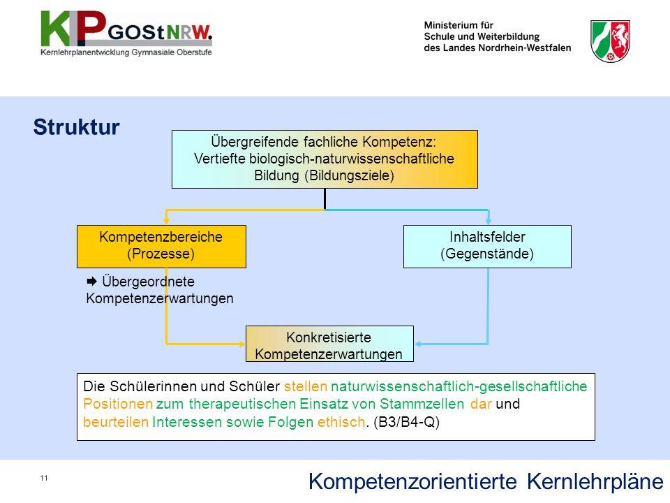 Struktur Kompetenzorientierte Kernlehrpläne 11 Konkretisierte Kompetenzerwartungen Die Schülerinnen und Schüler stellen naturwissenschaftlich-gesellsc