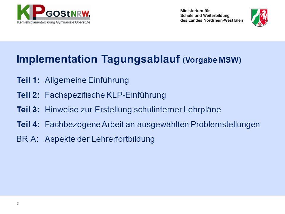 2 Implementation Tagungsablauf (Vorgabe MSW) Teil 1:Allgemeine Einführung Teil 2:Fachspezifische KLP-Einführung Teil 3:Hinweise zur Erstellung schulin