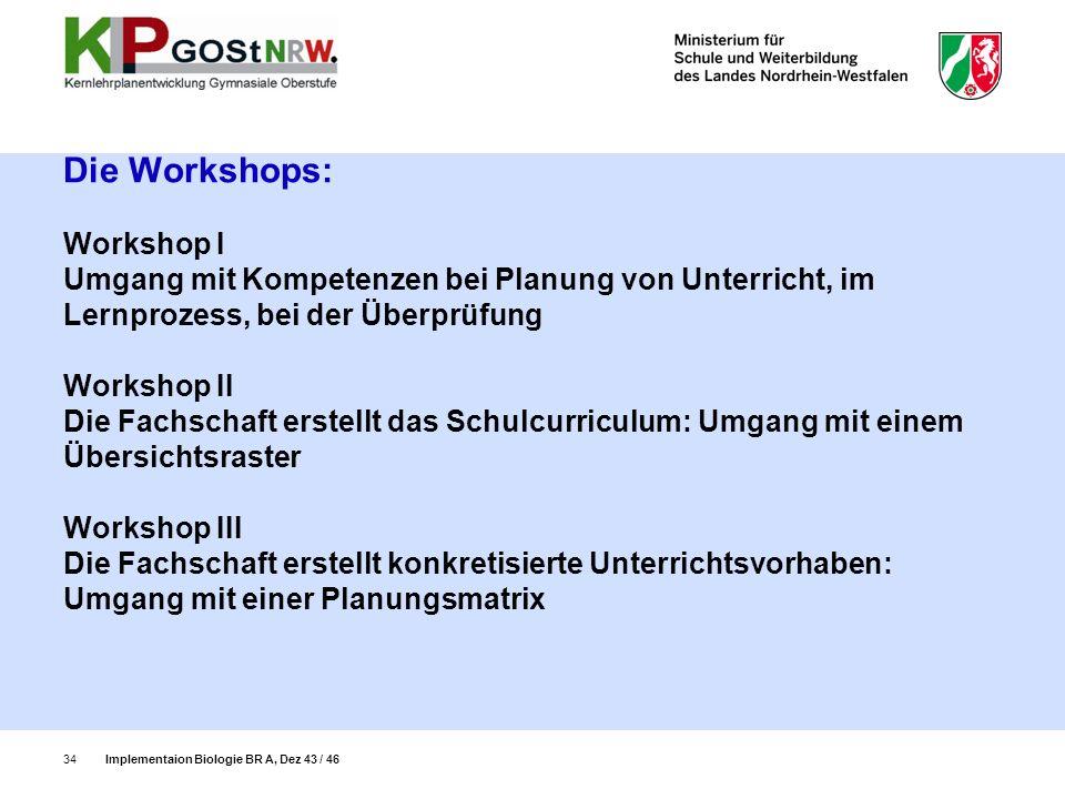 Die Workshops: Workshop I Umgang mit Kompetenzen bei Planung von Unterricht, im Lernprozess, bei der Überprüfung Workshop II Die Fachschaft erstellt d