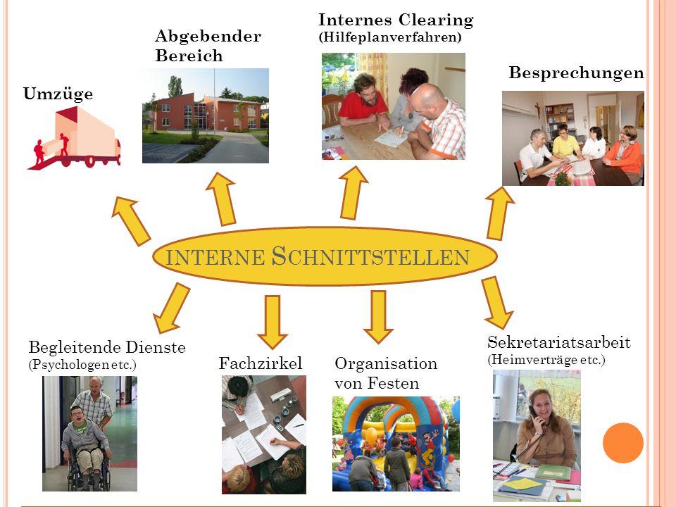 INTERNE S CHNITTSTELLEN Umzüge Abgebender Bereich Internes Clearing (Hilfeplanverfahren) Besprechungen Begleitende Dienste (Psychologen etc.) Fachzirk