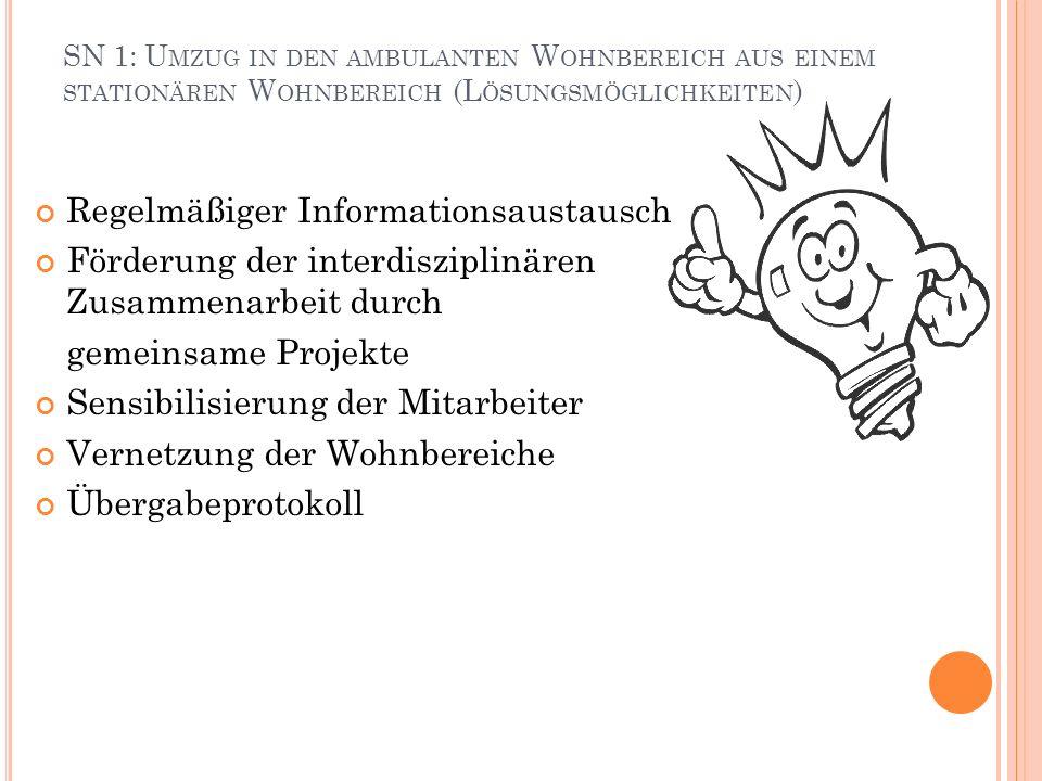 SN 1: U MZUG IN DEN AMBULANTEN W OHNBEREICH AUS EINEM STATIONÄREN W OHNBEREICH (L ÖSUNGSMÖGLICHKEITEN ) Regelmäßiger Informationsaustausch Förderung d