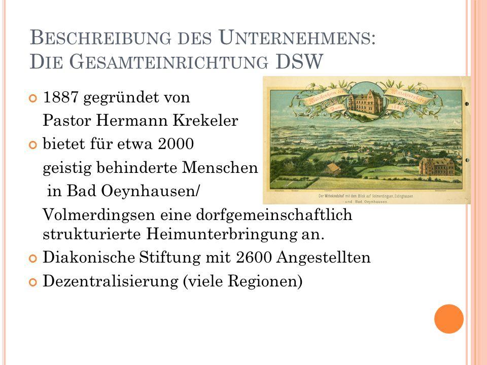 B ESCHREIBUNG DES U NTERNEHMENS : D IE G ESAMTEINRICHTUNG DSW 1887 gegründet von Pastor Hermann Krekeler bietet für etwa 2000 geistig behinderte Mensc