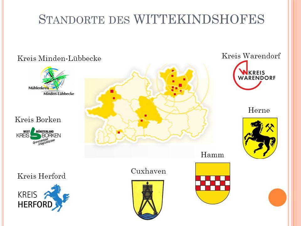 S TANDORTE DES WITTEKINDSHOFES Kreis Minden-Lübbecke Kreis Borken Kreis Herford Kreis Warendorf Hamm Herne Cuxhaven