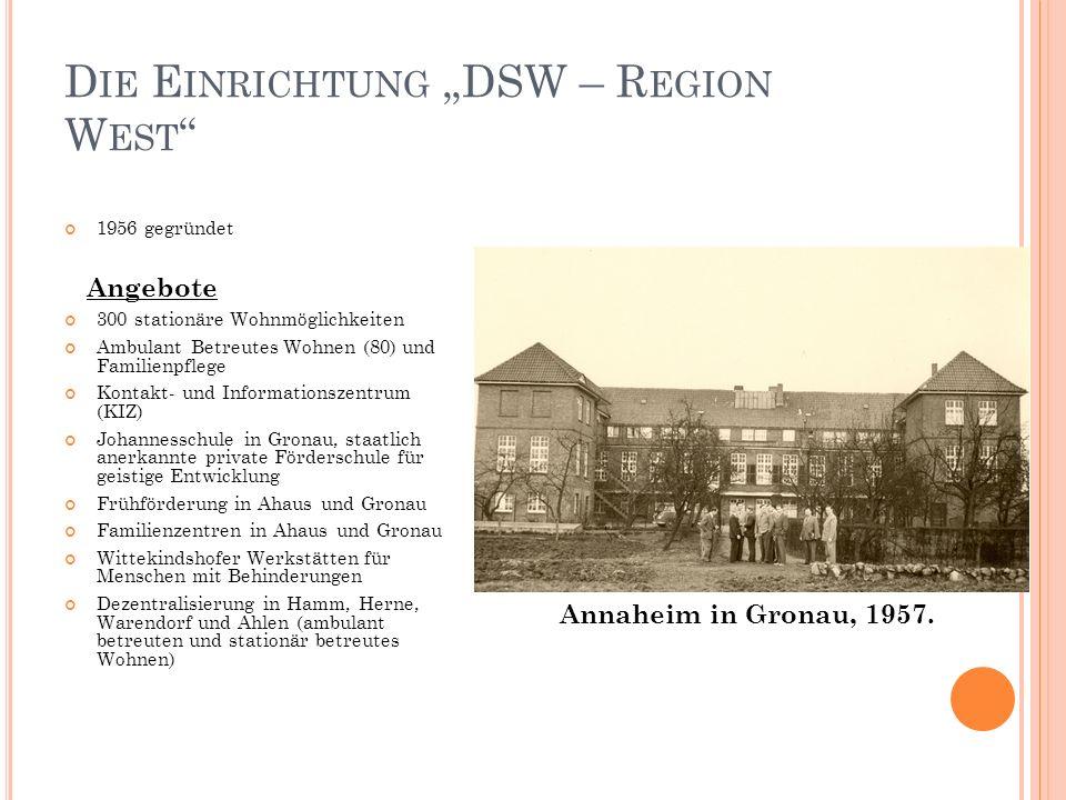 D IE E INRICHTUNG DSW – R EGION W EST 1956 gegründet Angebote 300 stationäre Wohnmöglichkeiten Ambulant Betreutes Wohnen (80) und Familienpflege Konta