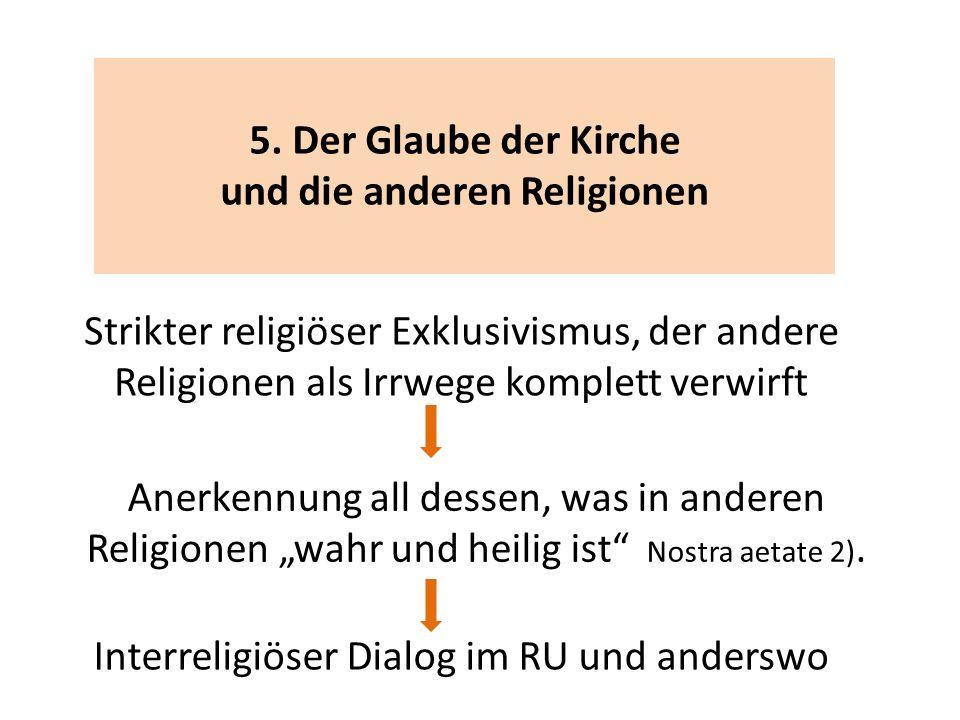 5. Der Glaube der Kirche und die anderen Religionen Strikter religiöser Exklusivismus, der andere Religionen als Irrwege komplett verwirft Anerkennung